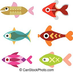 acuario, pez, vector, icono, conjunto