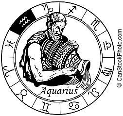 acuario, señal, zodíaco, negro, blanco