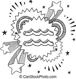 acuario, zodíaco, vector, taponazo