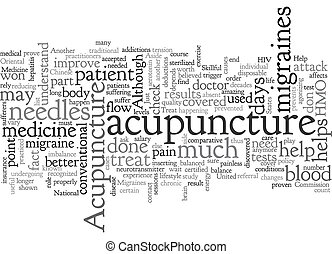 Acupuncture Can Help Treat Migraines text background wordcloud concept