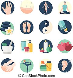 Acupuncture Flat Icon Set