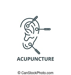 Acupuncture line icon, vector. Acupuncture outline sign, concept symbol, flat illustration