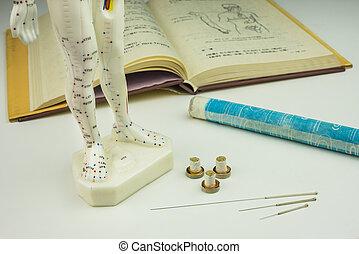acupuncture, manuel, modèle, aiguilles, rouleau, moxa