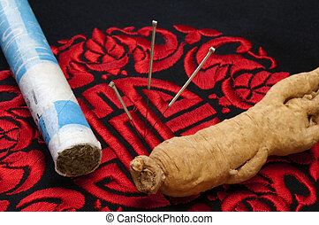 Acupuncture needles, Moxibustion and Ginseng