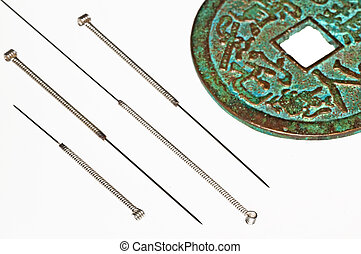 acupuncture needles with chinese coin