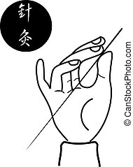 acupuncture of traditional Chinese medical science vector on white background
