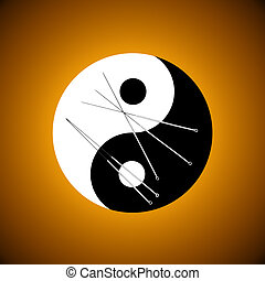 Acupuncture needles and a symbolical background (the yin-yang).