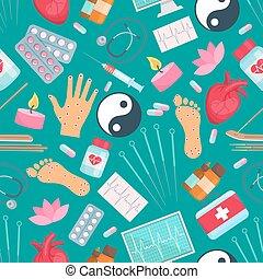 Acupuncture seamless pattern. Oriental alternative and Chinese complementary medicine treatment items needles, healthy points on hands, feet, Yin Yang symbol, drug pills and candle, syringe, heart, aromatherapy sticks and medical stethoscope