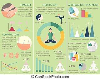 acupunctuur, set, infographics