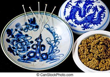 acupuntura, lana, agujas,  Moxa