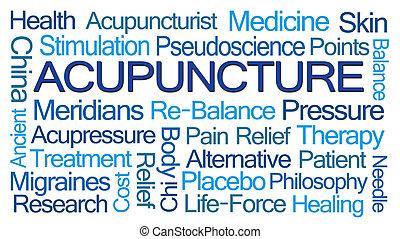 acupuntura, palavra, nuvem