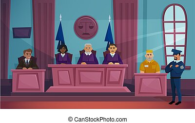 acusador, plano, vector, courtroom, ilustración, justicia, ...