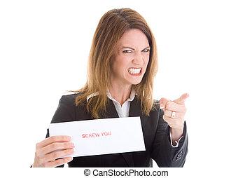 acusar, mulher aponta, angery, envelope, dedo, segurando, caucasiano