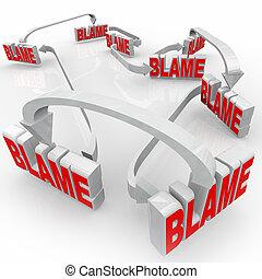 acusar, seta, culpa, responsabilidade, palavras, outros,...