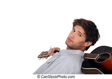 acustico, guitar., uomo