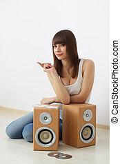 acustico, ragazza, due, dinamica