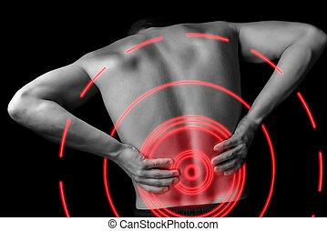 Acute backache - Acute pain in a male lower back, monochrome...