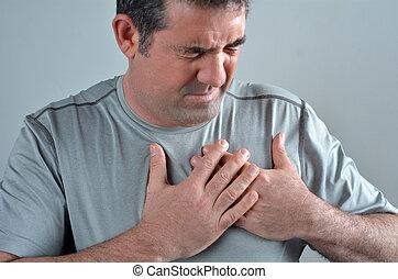 acuut, zijn, pijn, borst, hebben, man