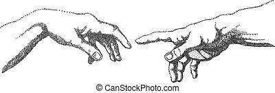 adán, vector, manos, creación