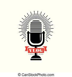 adást sugároz, mikrofon, vagy, embléma, ribbon., stream., vlog, csatorna, blog, video, él, vektor, tervezés, retro, online, jel, eredeti, piros black