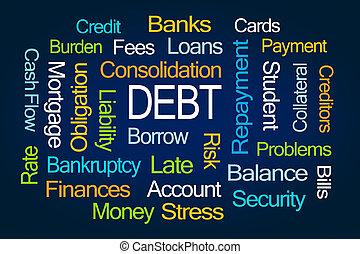 adósság, szó, felhő