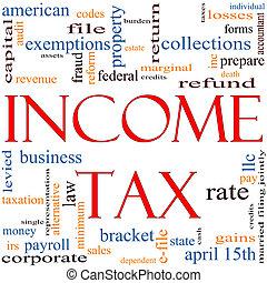 adót kiszab, fogalom, szó, felhő, jövedelem