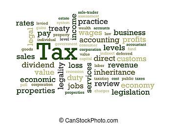 adót kiszab, szó, felhő