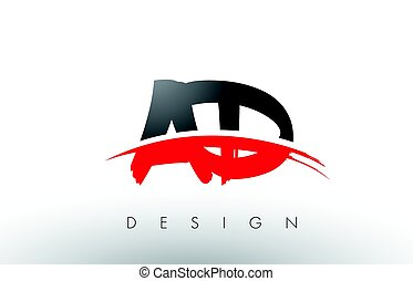 AD A D Brush Logo Letters with Red and Black Swoosh Brush...