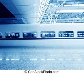 ad alta velocità, poi, riprese ravvicinate, pochi, stazione ...