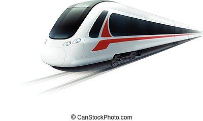 ad alta velocità, realistico, immagine, treno, isolato