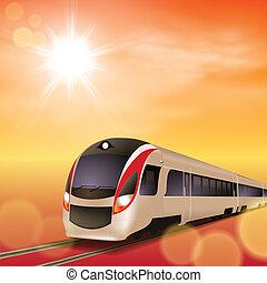 ad alta velocità, train., tramonto, time.