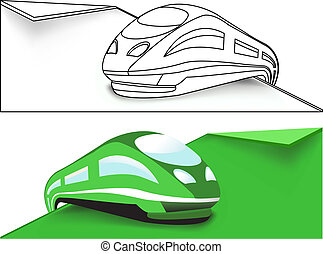 ad alta velocità, verde, treno