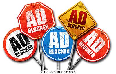 ad blocker, 3D rendering, street signs