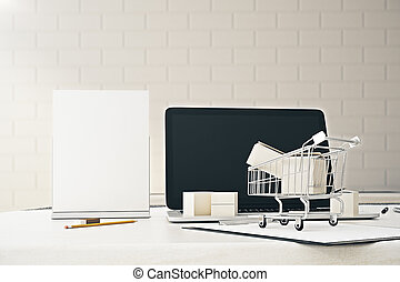 Ad concept - Close up of office desktop with empty laptop...