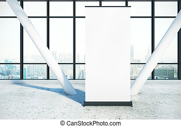 Ad concept - Empty ad stand placed in concrete interior with...