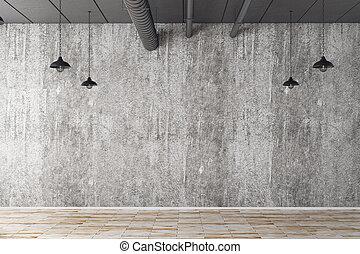 Ad concept - Abstract concrete interior with empty wall and...