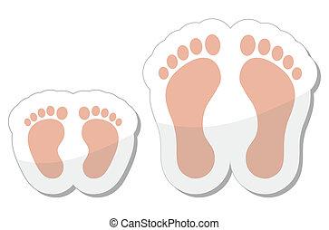 ad, -, dziecko, ślad stopy, niemowlę, ikona