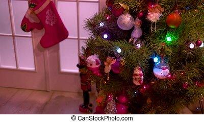 ad, gifts., drzewo, rok, nowy, ozdobny, boże narodzenie