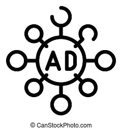 Ad mind map icon, outline style