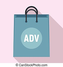 Ad paper bag icon, flat style