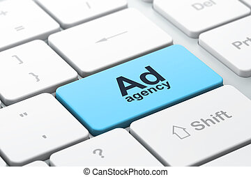 ad, pośrednictwo, komputer, reklama, klawiatura, concept: