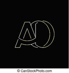 ad, początkowy, wektor, litera, logo, kreska