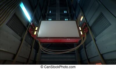 ad screen moving in the lift corridor