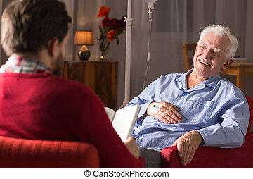adakozó, ember, senior törődik, elősegít
