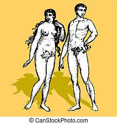Adam and Eva cartoon vector illustration retro God creation