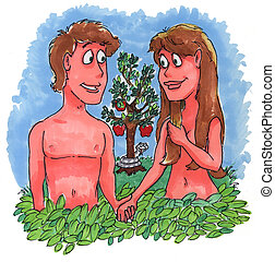 Adam and Eve - Adam and eve in the garden with the snake ...