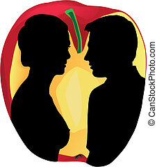 Adam and Eve - Two human silhouettes on apple background....