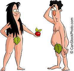 Adam and Eve - Eve offers Adam the apple vector illustration