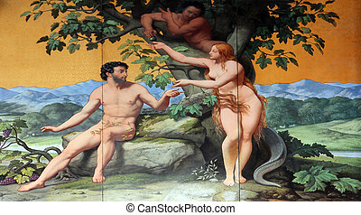 Adam and Eve, painting on the facade, Saint Vincent de Paul...