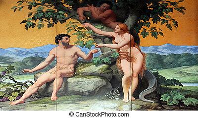 Adam and Eve, painting on the facade, Saint Vincent de Paul...